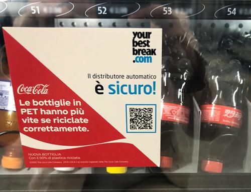 Nuove bottiglie di Coca-Cola in rPET in un distributore sicuro!